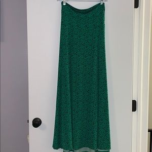 Green and navy floral maxi skirt